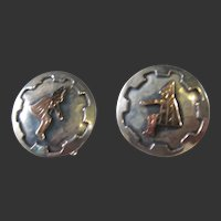 Vintage Sterling Silver & 18K Mexican Cuff links
