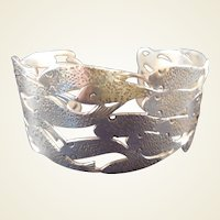 Wonderful Vintage Sterling FISH Cuff signed TC Ellis