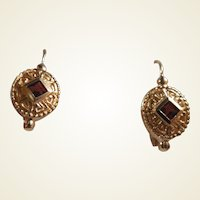 14k Garnet Earrings Etruscan Style