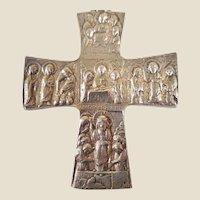 Vintage Sterling Silver Cross Jesus Apostles