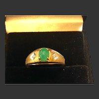 Vintage 10k Jade Ring