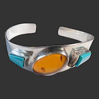 Sterling Silver Amber & Turquoise Cuff