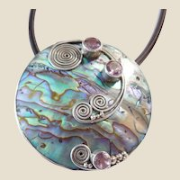 Modernist Sterling Silver Abalone & Amethyst Pendant /Chain