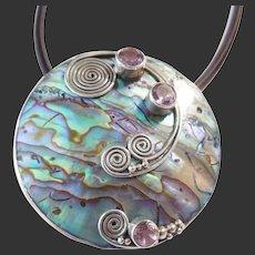 Modernist Sterling Silver Abalone & Amethyst Pendant /Chain