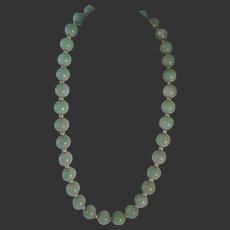 Vintage Chinese  Light Green Jade Vermeil  Necklace