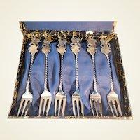 Vintage 800 Silver Thai Figure Forks/6/Orig. Box