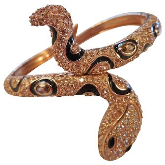 Super Estate Rose Gold Vermeil Snake Cuff/Topaz/Rhinestones