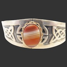 Vintage Estate Mexican Sterling and Banded Agate Cuff Bracelet