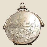 Vintage Estate G.F. Etched Locket/Landscape