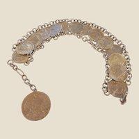Vintage Estate Silver Coin Bracelet/Guatemalan 1/2 Reals