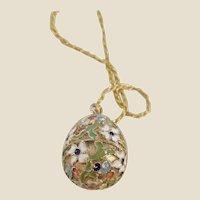 Vintage Estate Vermeil Enameled Egg pendant/Chain