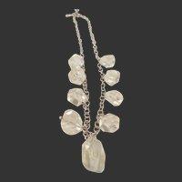 Estate Vintage Sterling & Rock Crystal Necklace