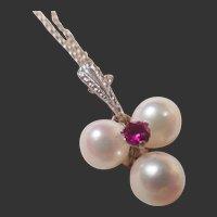 Vintage Estate 14k White Gold Pearl & Ruby Pendant/Chain