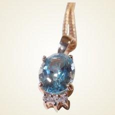 Vintage Estate 14k Rose Gold Blue Topaz and Diamond Pendant/Chain