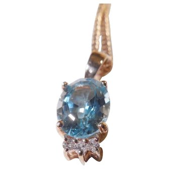 Vintage Estate 14k Rose Gold Blue Topaz and Diamond Pendant/Chain