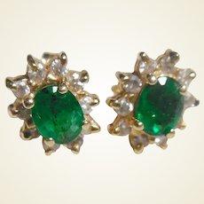 Estate 14k Emerald & Diamond Earrings
