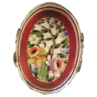 Vintage Estate Sterling Millefiori/Carnelian Ring
