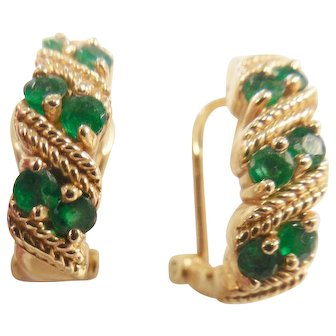 Lovely Estate 14k Emerald Earrings