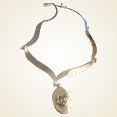 Estate Mexican Sterling Necklace/Center Crystal