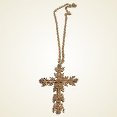 Vintage GF Yellow/Rose Gold Cross/Etched Chain