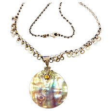 Vintage Sterling and Abalone necklace