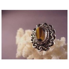 Vintage Sterling and Tiger's Eye Ring. Finland/E. Granit/Size 7 1/4