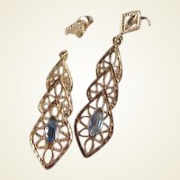 Pretty 14k Blue Topaz Filigree Dangle Earrings
