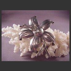 Pretty Vintage Mexican Sterling Flower Pin/Villasana/MRV