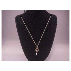 Lovely Vintage 10k Pendant/ Garnet & Baroque Pearl/Chain