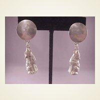 Cool Sterling Wolf Howling at Moon Earrings