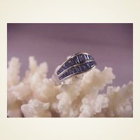 Pretty 14k White Gold Sapphire Double Band/size 6 3/4