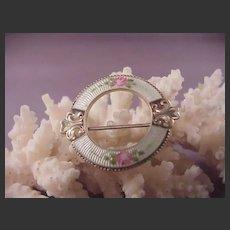 Pretty Vintage Sterling & Enamel Circle pin
