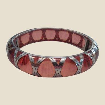 Unusual Vintage Sterling over Pink Lucite Bangle Bracelet