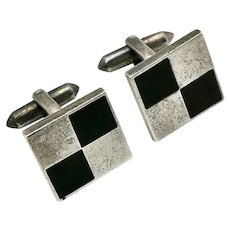 Taxco 970 Silver Onyx Margarita / Filiberto Gomez Mexican Checkerboard Cufflinks