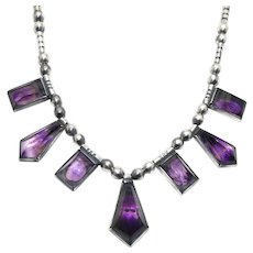 Rare Hector Aguilar Amethyst 940 Silver Taxco Mexican Necklace