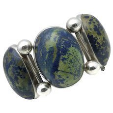 Monumental Hector Aguilar Azurite 940 Silver Taxco Mexican Bracelet
