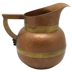 Huge Hector Aguilar Taxco Mexican Copper Brass Square Handled Water Pitcher