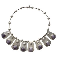 1940's Mexican Amethyst Drops Sterling Silver Modernist Necklace