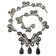 Mexican Amethyst Teardrops Repoussé Sterling Silver Necklace 17""