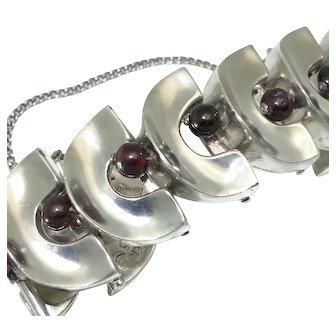 Antonio Pineda Taxco Mexican Garnet Sterling Silver Modernist Bracelet