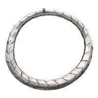 165Gr Antonio Pineda Modernist 970 Silver Taxco Mexican Necklace