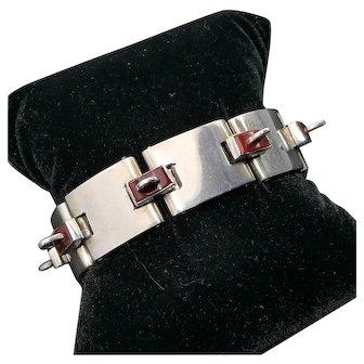 Rare Antonio Pineda 970 Silver Taxco Mexican Carnelian Bracelet Book-Piece