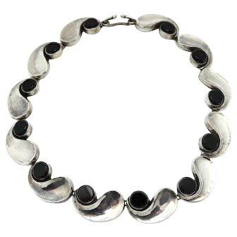 Antonio Pineda Onyx Comma Silver Necklace Taxco Mexican