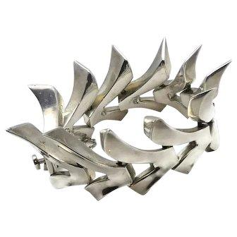 "Antonio Pineda Taxco Mexican Modernist 970 Silver Flared ""V"" Bracelet"