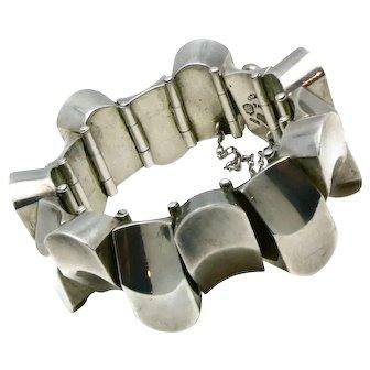 131Gr Antonio Pineda Taxco Mexican 970 Silver Thumb Print Bracelet