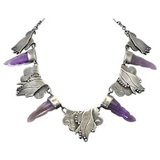 Rare Carmen Beckmann Amethyst Sterling Silver Mexican Necklace