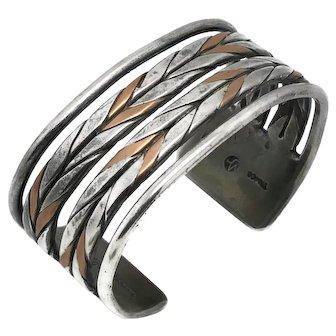 1930's William Spratling Taxco Mexican 980 Silver Copper Braided Cuff