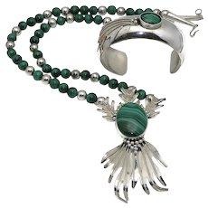 Carol Felley Sterling Silver Malachite Necklace Cuff Bracelet Set