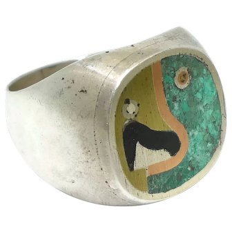 Los Castillo Taxco Mexican Cubist Parrot Sterling Silver Ring Size 10 3/4