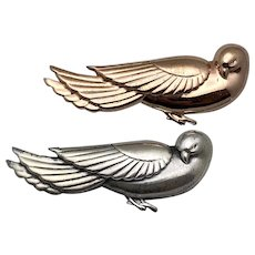 """Coro Hector Aguilar Mexican Pair of Dove Pins Sterling Silver / Vermeil 3 3/4"""""""